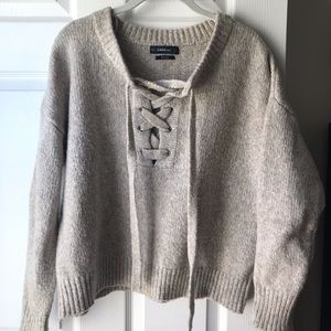 ZARA Lace Up Sweater Cream Wool Sweater